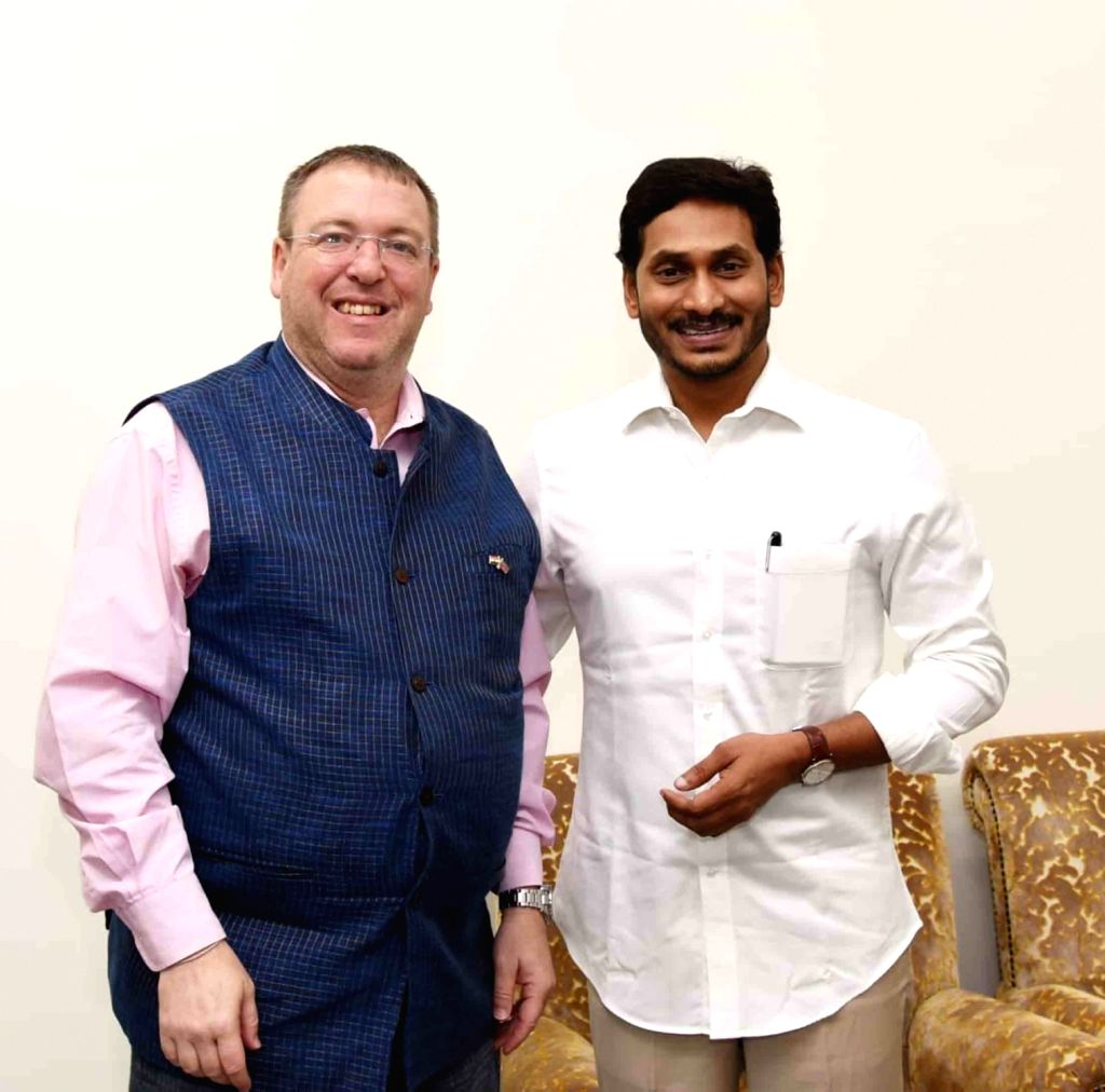 British Deputy High Commissioner for Andhra Pradesh and Telangana, Andrew Fleming meets Andhra Pradesh Chief Minister Y. S. Jagan Mohan Reddy in Tadepalli, on Aug 10, 2019. - Y. S. Jagan Mohan Reddy