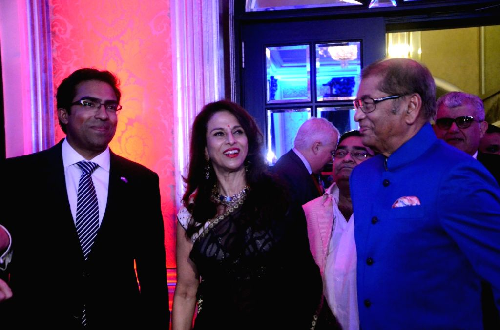 British Deputy High Commissioner Kumar Iyer and columnist Shobhaa De during a reception hosted by the British Deputy High Commissioner Shekhar Iyer to celebrate the 90th birthday of Queen ...