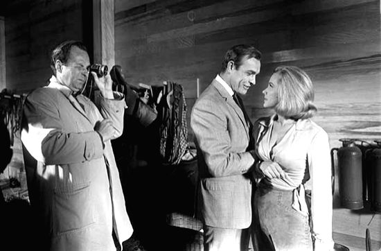 "British director Guy Hamilton overseeing Sean Connery and Honor Blackman in ""Goldfinger"" - Guy Hamilton"