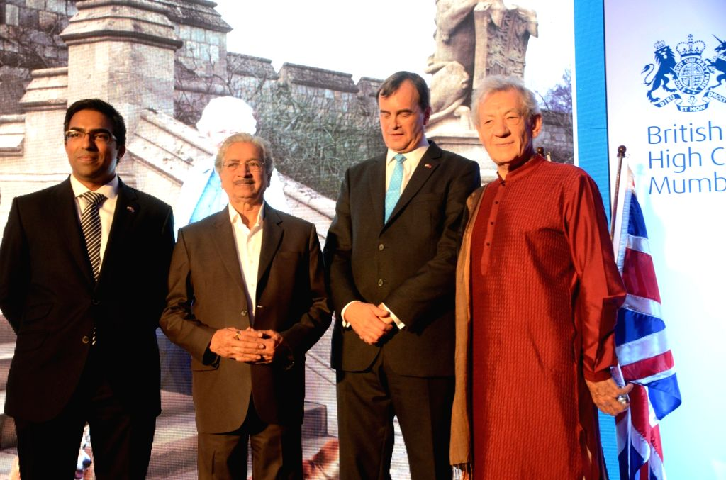 British High Commissioner Sir Dominic Asquith, Deputy High Commissioner Kumar Iyer, Maharashtra Industry Minister Subhash Desai and actor Sir Ian McKellen during a reception hosted by the ... - Subhash Desai