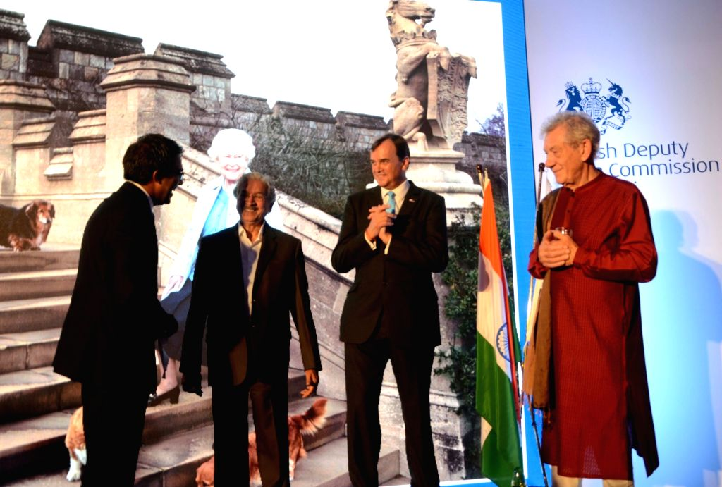 British High Commissioner Sir Dominic Asquith, Maharashtra Industry Minister Subhash Desai and actor Sir Ian McKellen during a reception hosted by the British Deputy High Commissioner Shekhar ... - Subhash Desai