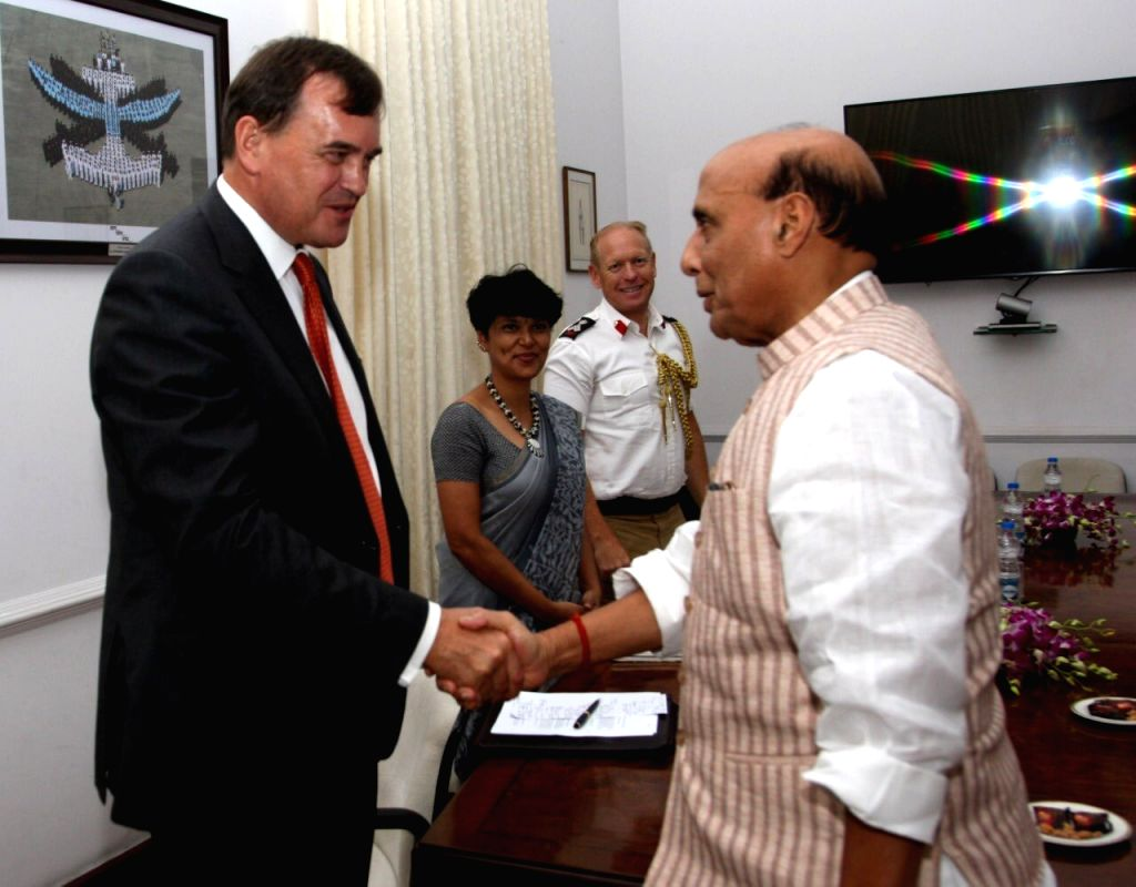 British High Commissioner to India, Dominic Asquith meets Defence Minister Rajnath Singh in New Delhi on July 19, 2019. - Rajnath Singh