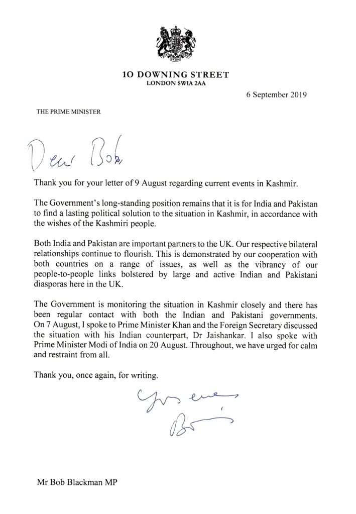 """British Prime Minister Boris Johnson has said that the UK is monitoring the situation in Kashmir closely and wants India and Pakistan to find a """"lasting political solution to the situation in Kashmir, in accordance with the wishes of the Kashmiri peo - Boris Johnson"""