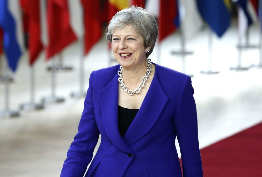 :British Prime Minister Theresa May arrives for the second day of EU summit on Oct. 18, 2018, in Brussels, capital of Belgium. .