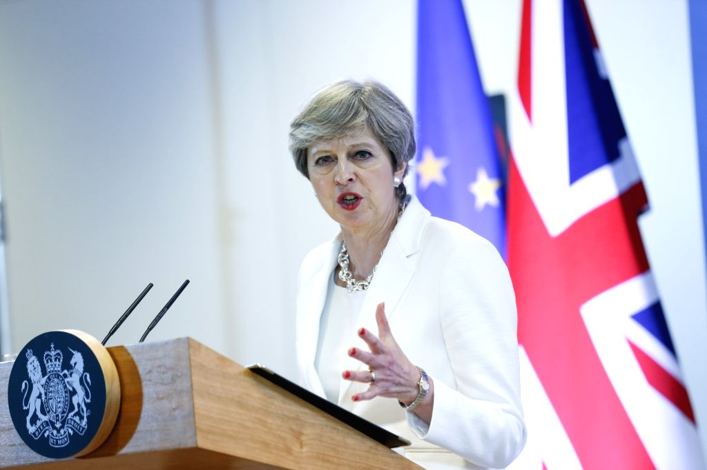 British Prime Minister Theresa May attends a press conference at the end of a two-day EU Summit in Brussels, Belgium, June 23, 2017. - Theresa May