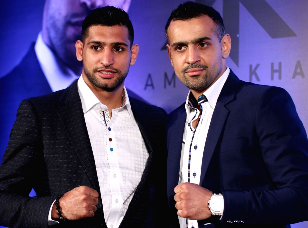 British professional boxer Amir Khan during a press conference regarding Super Fight in New Delhi, on Nov 3, 2015.