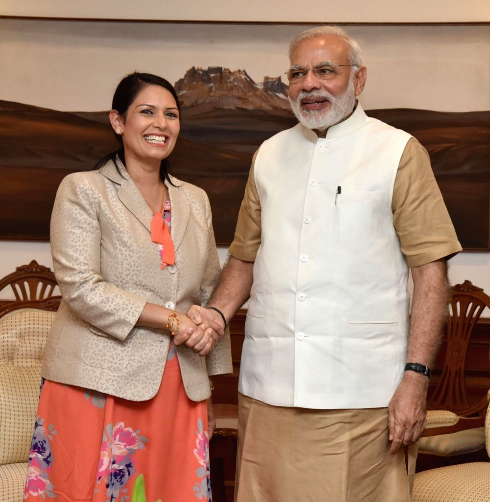 British Secretary of State for International Development Priti Patel calls on Prime Minister Narendra Modi in New Delhi on Aug 13, 2016. - Narendra Modi and Development Priti Patel