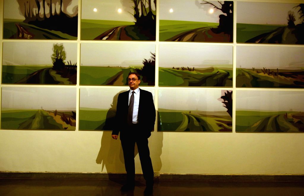British Visual artist Julian Opie at the preview of the his exhibit `Winter` in Mumbai, on Aug 4, 2015.