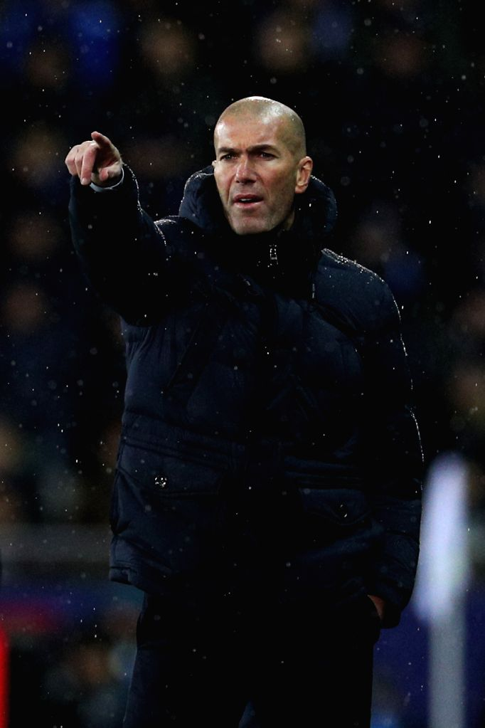 BRUGGE, Dec. 12, 2019 - Real Madrid's head coach Zinedine Zidane gives instructions during a Group A match of the 2019-2020 UEFA Champions League between Club Brugge and Real Madrid in Brugge, ...