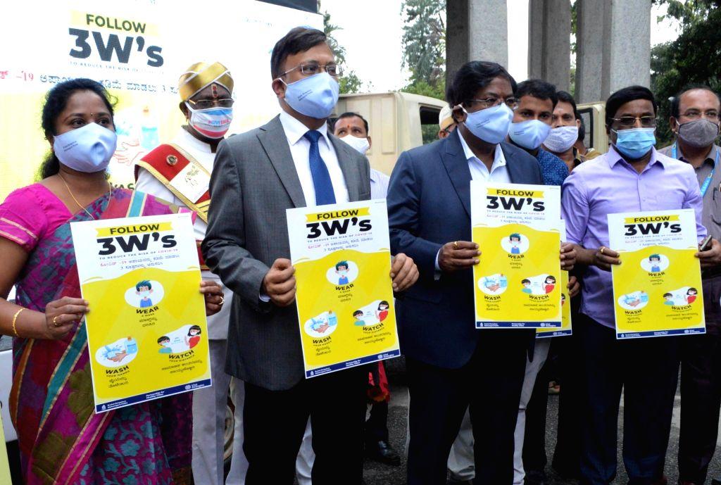 "Bruhat Bengaluru Mahanagara Palike (BBMP) Administrator Gaurav Gupta and BBMP Commissioner Manjunath Prasad launch the COVID-19 awareness campaign ""3W's"" to to reduce the risk of ... - Gaurav Gupta"