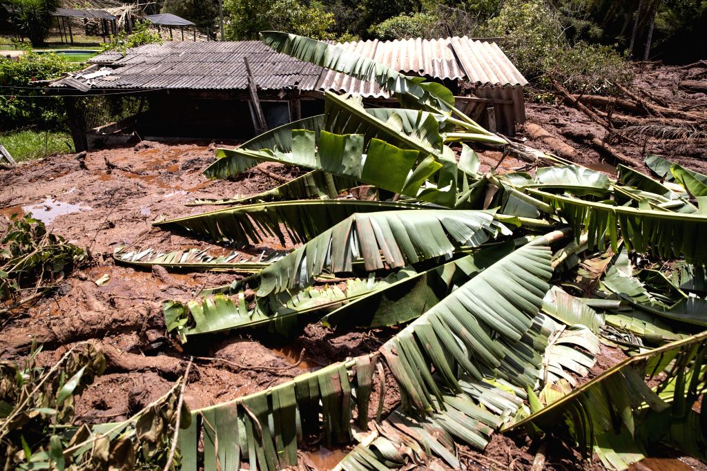 BRUMADINHO, Jan. 28, 2019 - Photo taken on Jan. 27, 2019 shows a destroyed house at the area affected by the collapse of a tailings dam, near the town of Brumadinho, the state of Minas Gerias, ...