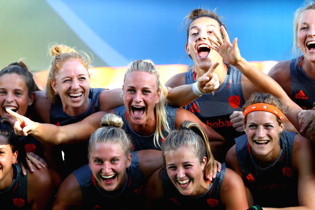 BRUSSEL, July 3, 2017 - The first place winner, the Netherlands players pose for photos on the closing ceremony after the semi-final match between China and the Netherlands of 2017 Women Hocky World ...