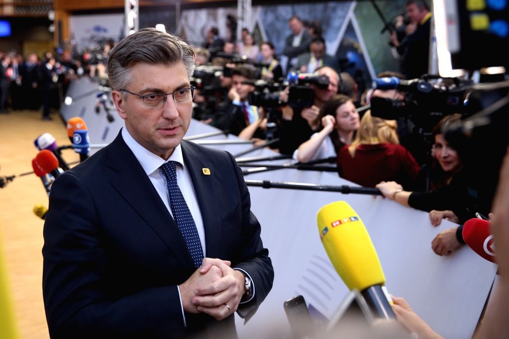 BRUSSELS, April 10, 2019 - Croatian Prime Minister Andrej Plenkovic speaks to journalists at the European Union headquarters prior to the special meeting of the European Council in Brussels, Belgium, ... - Andrej Plenkovic