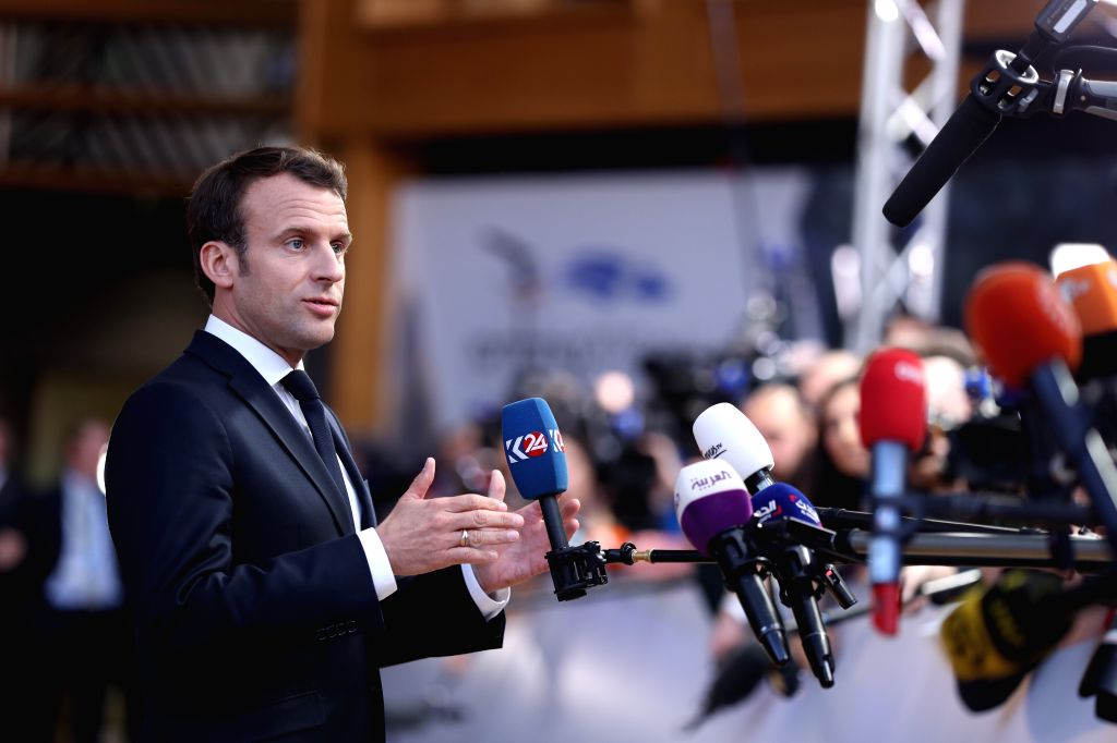 BRUSSELS, April 10, 2019 - French President Emmanuel Macron speaks to journalists at the European Union headquarters prior to the special meeting of the European Council in Brussels, Belgium, on ...