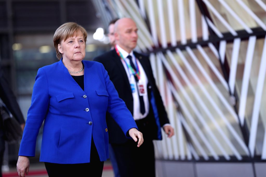 BRUSSELS, April 10, 2019 - German Chancellor Angela Merkel (Front) arrives at the European Union headquarters to attend the special meeting of the European Council in Brussels, Belgium, on April 10, ...