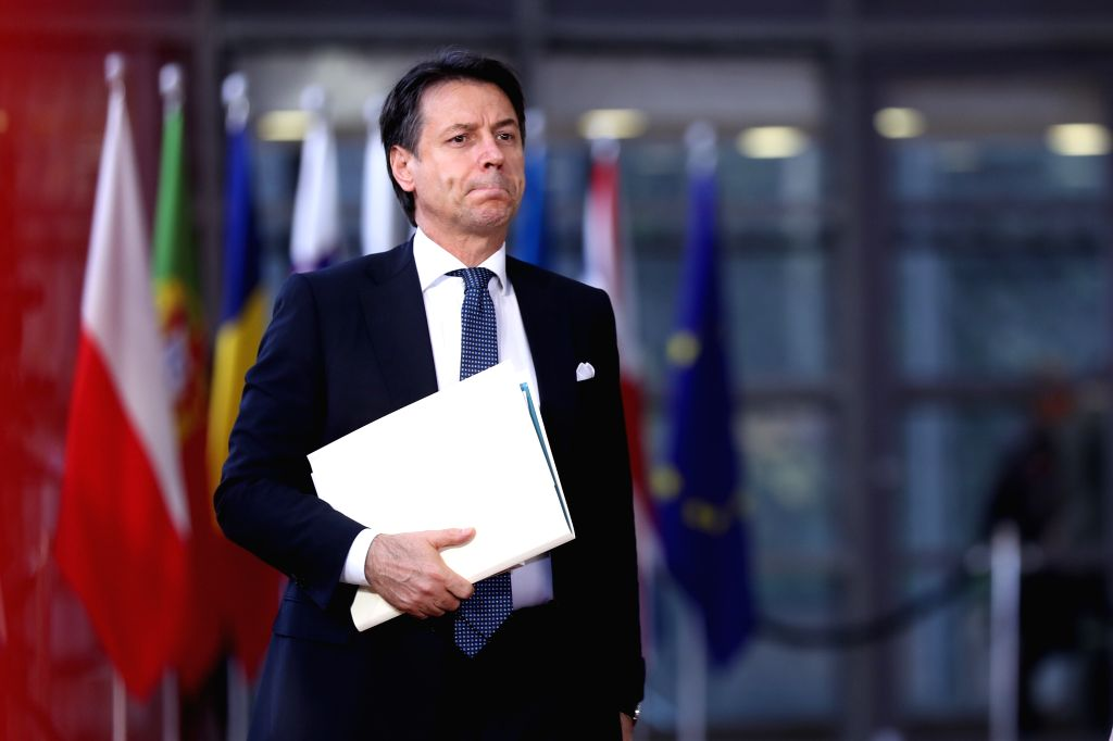 BRUSSELS, April 10, 2019 - Italian Prime Minister Giuseppe Conte arrives at the European Union headquarters to attend the special meeting of the European Council in Brussels, Belgium, on April 10, ... - Giuseppe Conte