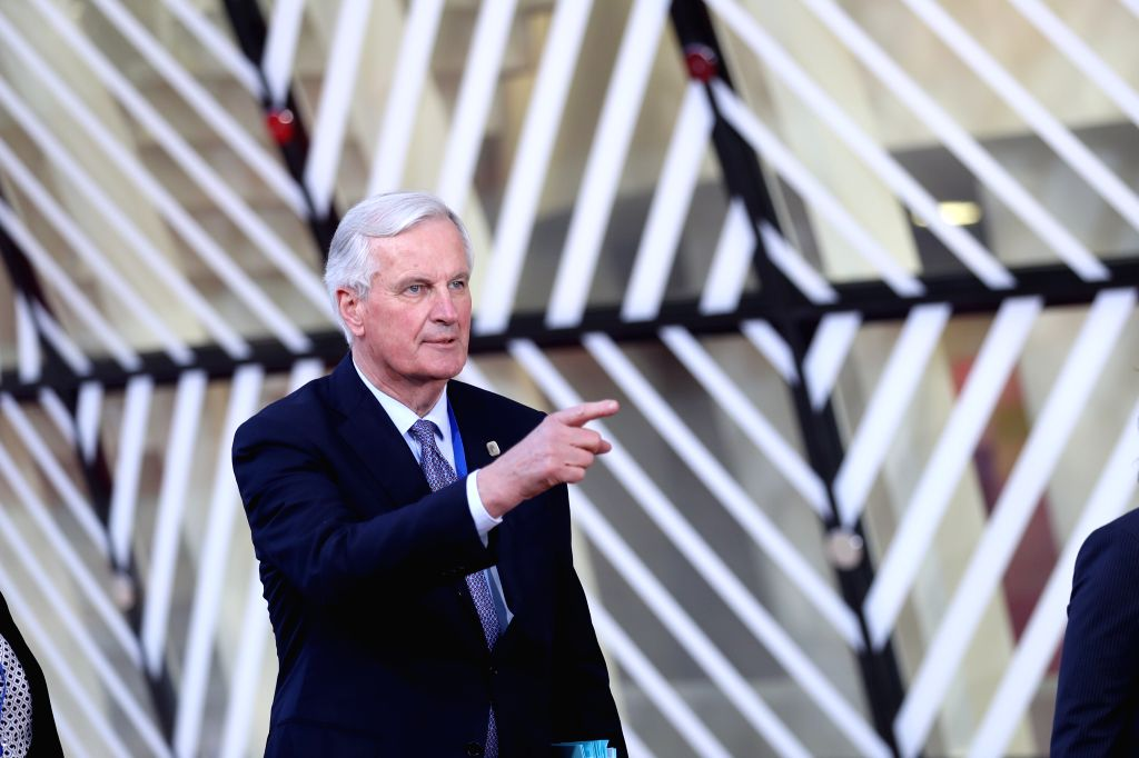BRUSSELS, April 10, 2019 - Michel Barnier, European Union (EU) chief Brexit negotiator, arrives at the European Union headquarters to attend the special meeting of the European Council in Brussels, ...