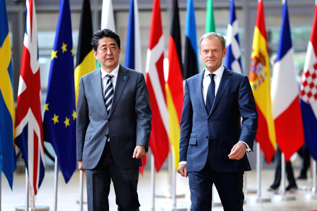 BRUSSELS, April 25, 2019 - European Council President Donald Tusk (R) welcomes Japanese Prime Minister Shinzo Abe at the EU-Japan Summit in Brussels, Belgium, April 25, 2019. The 26th Summit between ... - Shinzo Abe