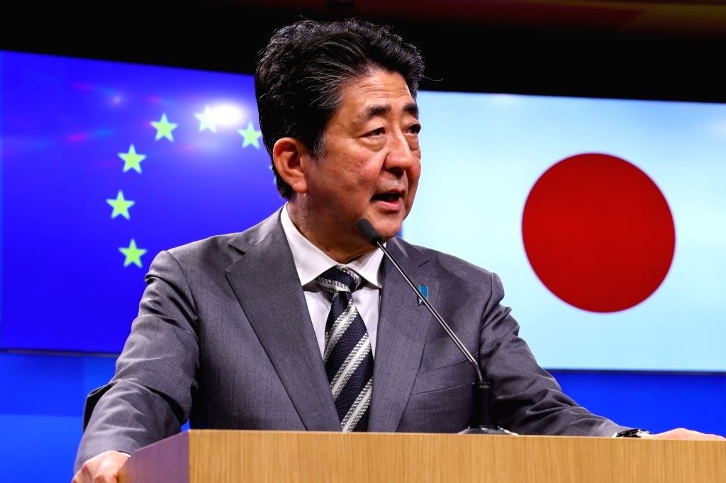 BRUSSELS, April 25, 2019 - Japanese Prime Minister Shinzo Abe speaks at a press conference during the EU-Japan Summit in Brussels, Belgium, April 25, 2019. The 26th Summit between the EU and Japan ... - Shinzo Abe
