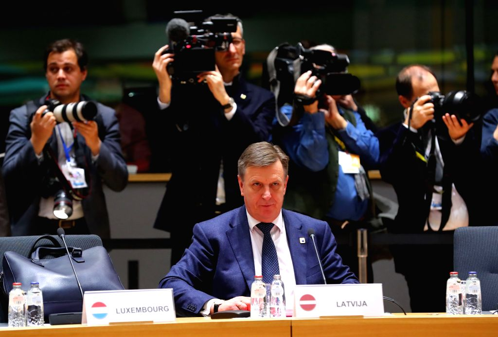 BRUSSELS, April 29, 2017 - Latvian Prime Minister Maris Kucinskis (Front) attends the Special European Council summit at the EU headquarters in Brussels, Belgium, on April 29, 2017. The 27 European ... - Maris Kucinskis