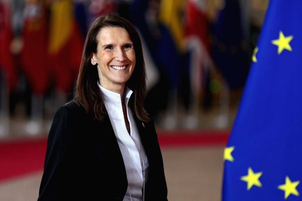 BRUSSELS, Dec. 12, 2019 - Belgian Prime Minister Sophie Wilmes arrives for the EU summit at the EU headquarters in Brussels, Belgium, Dec. 12, 2019. During the two-day meetings, leaders of EU ... - Sophie Wilmes