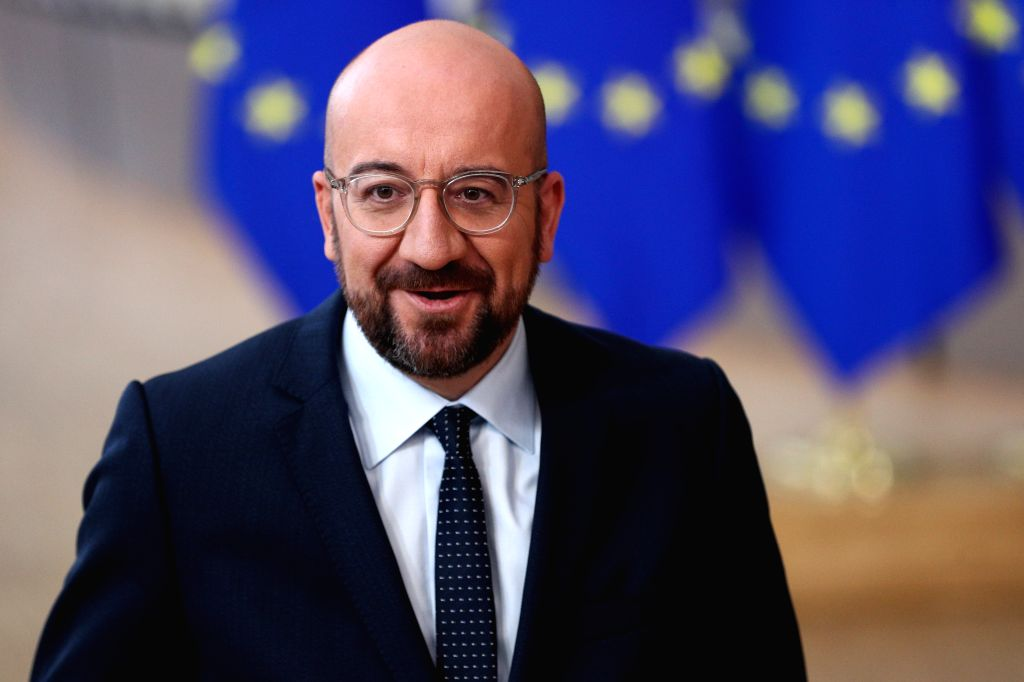 BRUSSELS, Dec. 12, 2019 - Charles Michel, the new President of the European Council, speaks to the media before the EU summit at the EU headquarters in Brussels, Belgium, Dec. 12, 2019. During the ...