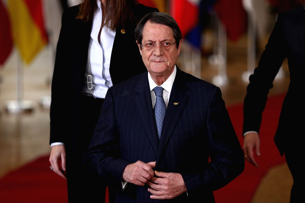 BRUSSELS, Dec. 12, 2019 - Cypriot President Nicos Anastasiades attends a group photo session during an EU summit at the EU headquarters in Brussels, Belgium, Dec. 12, 2019. The two-day summit kicked ...