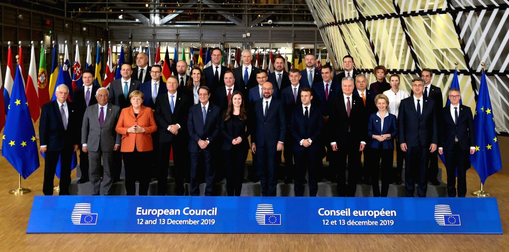 BRUSSELS, Dec. 12, 2019 - ers pose for a group photo during an EU summit at the EU headquarters in Brussels, Belgium, Dec. 12, 2019. The two-day summit kicked off here on Thursday.