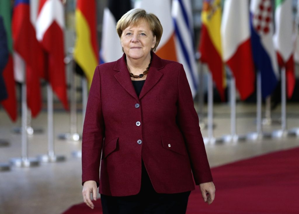 BRUSSELS, Dec. 13, 2018 - German Chancellor Angela Merkel arrives at a two-day EU summit in Brussels, Belgium, Dec. 13, 2018.