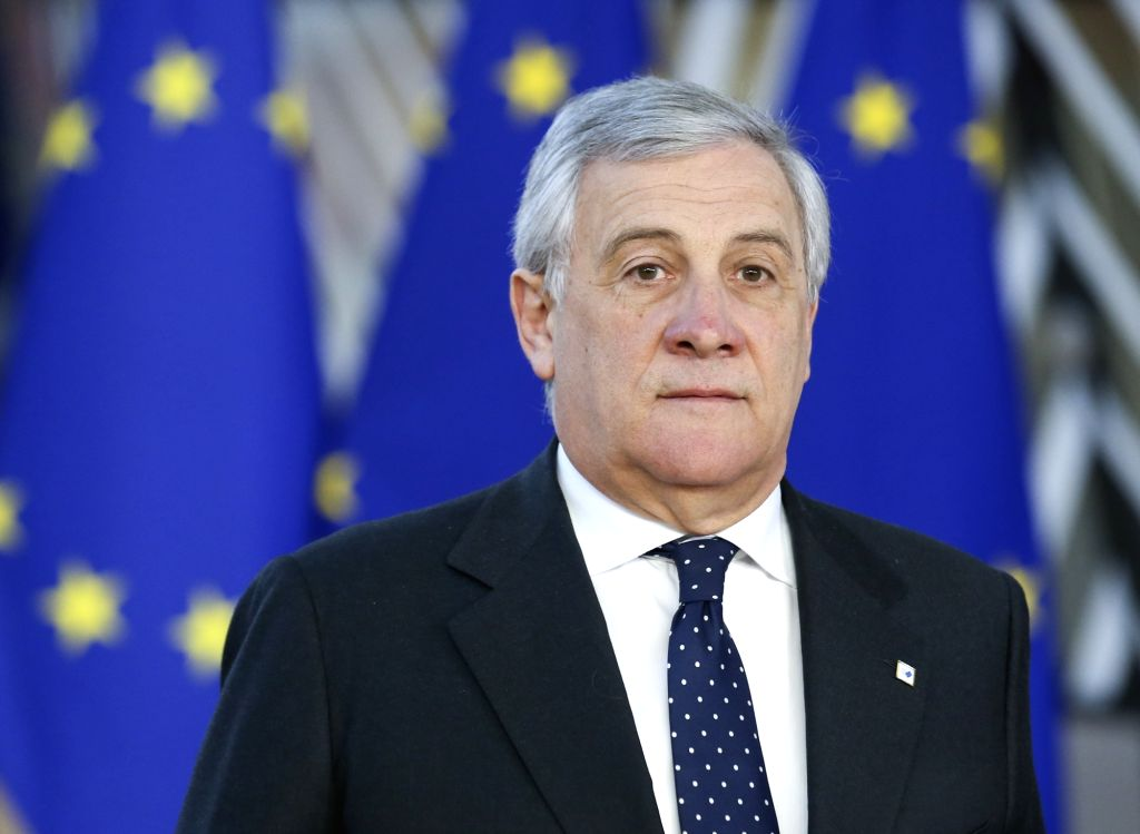BRUSSELS, Dec. 13, 2018 (Xinhua) -- European Parliament President Antonio Tajani arrives at a two-day EU summit in Brussels, Belgium, Dec. 13, 2018.  (Xinhua/Ye Pingfan/IANS)