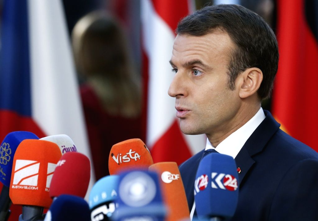BRUSSELS, Dec. 13, 2018 (Xinhua) -- French President Emmanuel Macron speaks to media upon his arrival at a two-day EU Summit in Brussels, Belgium, Dec. 13, 2018. (Xinhua/Ye Pingfan/IANS)
