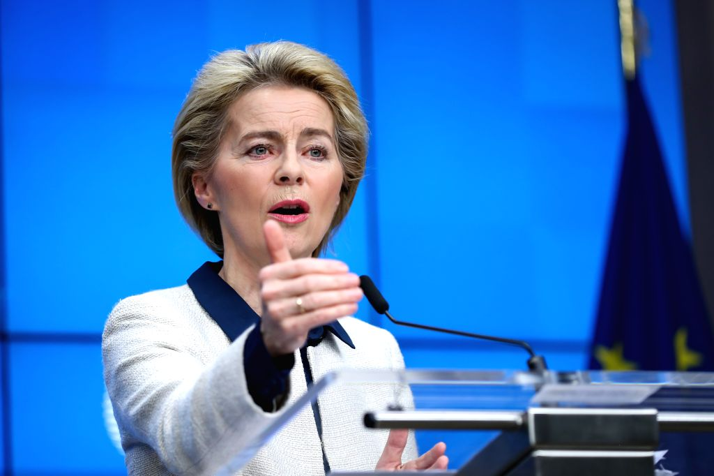 BRUSSELS, Dec. 13, 2019 - European Commission President Ursula Von Der Leyen attends a press conference at the end of the EU summit in Brussels, Belgium, Dec. 13, 2019.