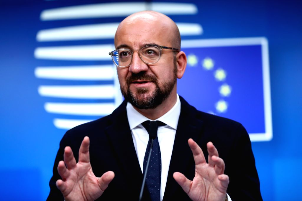 BRUSSELS, Dec. 13, 2019 - European Council President Charles Michel attends a press conference at the end of the EU summit in Brussels, Belgium, Dec. 13, 2019.