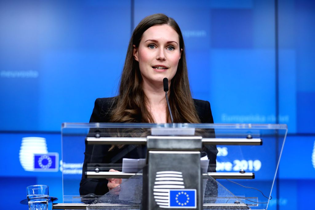 BRUSSELS, Dec. 13, 2019 - Finnish Prime Minister Sanna Marin attends a press conference at the end of the EU summit in Brussels, Belgium, Dec. 13, 2019. - Sanna Marin