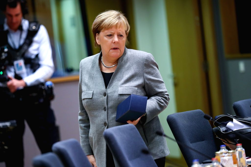 BRUSSELS, Dec. 13, 2019 - German Chancellor Angela Merkel arrives for the EU summit at the EU headquarters in Brussels, Belgium, Dec. 13, 2019.