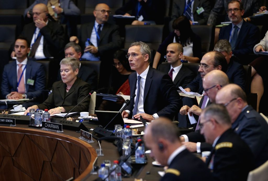 BRUSSELS, Dec. 4, 2018 - NATO Secretary General Jens Stoltenberg speaks at the NATO foreign ministers' meeting in Brussels, Belgium,  Dec. 4, 2018.