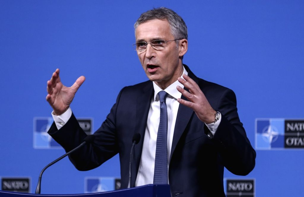 BRUSSELS, Dec. 4, 2018 - NATO Secretary General Jens Stoltenberg addresses a press conference during NATO foreign ministers' meeting in Brussels, Belgium, on Dec. 4, 2018.