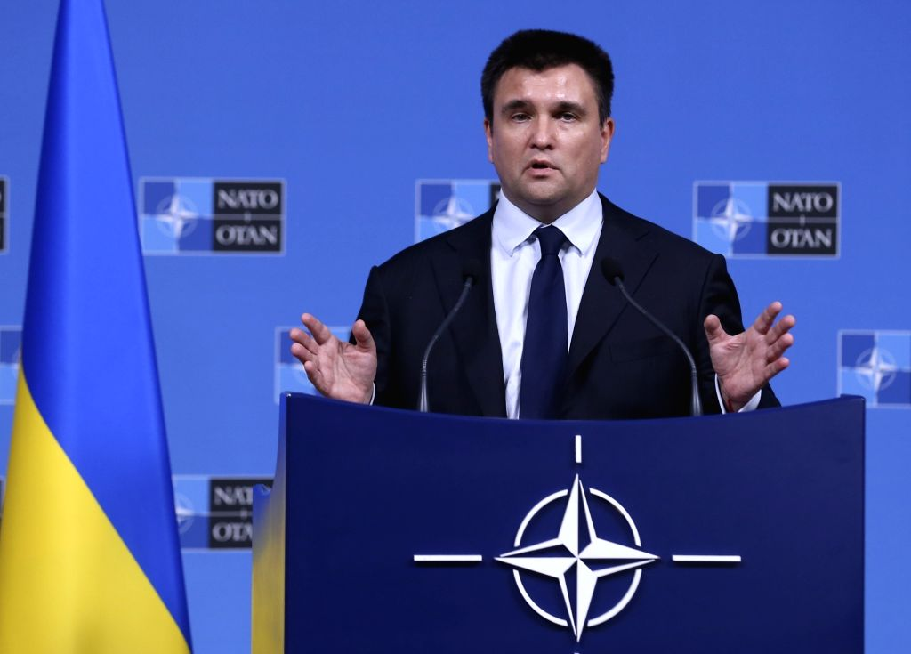 BRUSSELS, Dec. 4, 2018 - Ukrainian Foreign Minister Pavlo Klimkin addresses a press conference after a meeting with the NATO foreign ministers in Brussels, Belgium, Dec. 4, 2018. - Pavlo Klimkin