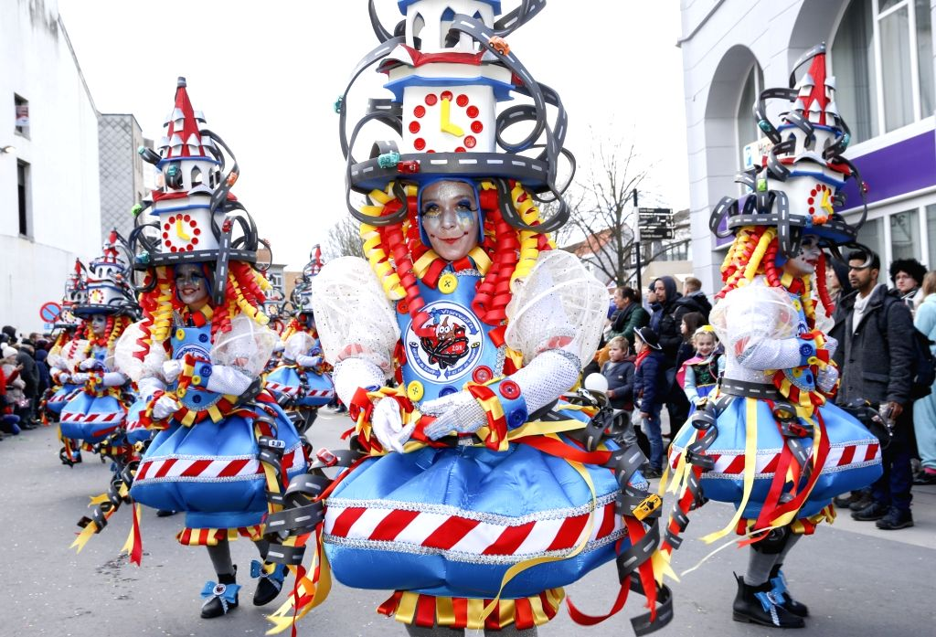 BRUSSELS, Feb. 11, 2018 - Revelers attend the 90th carnival parade in Aalst, some 30 kilometers northwest from Brussels, capital of Belgium, on Feb. 11, 2018. Thousands of revelers participated in ...