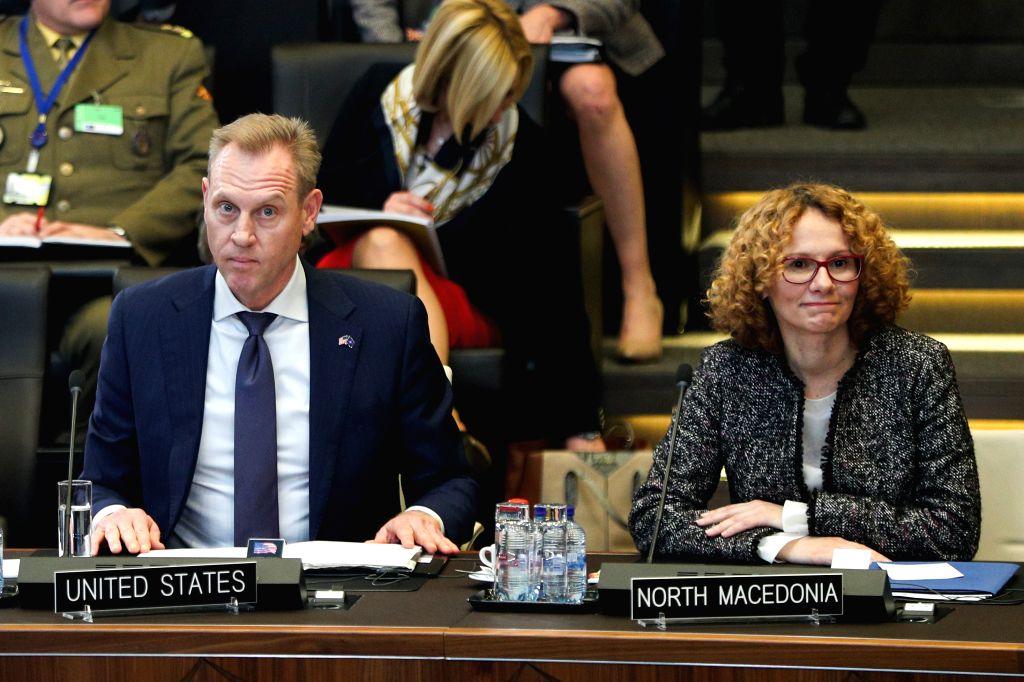 BRUSSELS, Feb. 13, 2019 - Acting U.S. Secretary of Defense Patrick Shanahan (L) and North Macedonia's Defense Minister Radmila Sekerinska attend the NATO defence ministers meeting at the NATO ... - Radmila Sekerinska