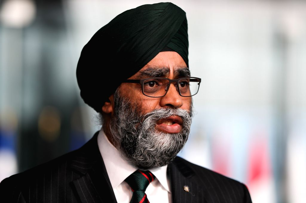 BRUSSELS, Feb. 13, 2019 - Canadian Minister of Defence Harjlt Singh Sajjan speaks to media ahead of the NATO defence ministers meeting at the NATO headquarters in Brussels, Belgium, Feb. 13, 2019. - Harjlt Singh Sajjan