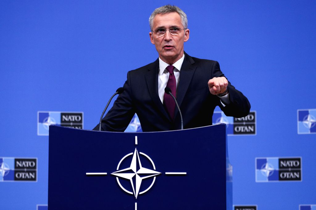 BRUSSELS, Feb. 13, 2019 - NATO Secretary General Jens Stoltenberg speaks at a press conference of the NATO defense ministers meeting at the NATO headquarters in Brussels, Belgium, on Feb. 13, 2019.