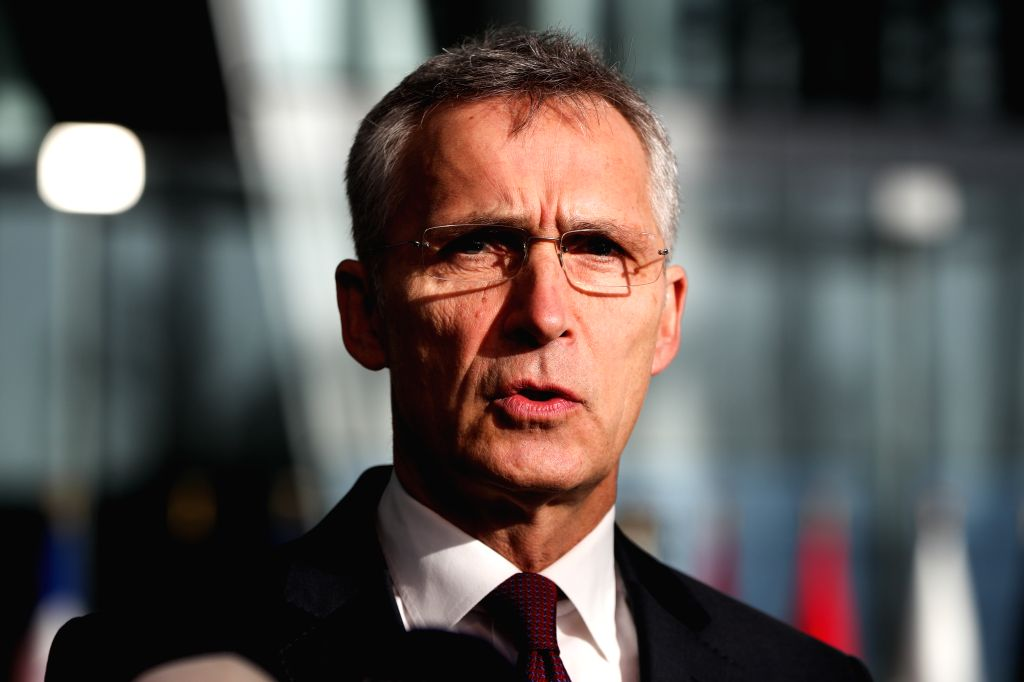 BRUSSELS, Feb. 13, 2019 - NATO Secretary General Jens Stoltenberg speaks to media ahead of the NATO defence ministers meeting at the NATO headquarters in Brussels, Belgium, Feb. 13, 2019.