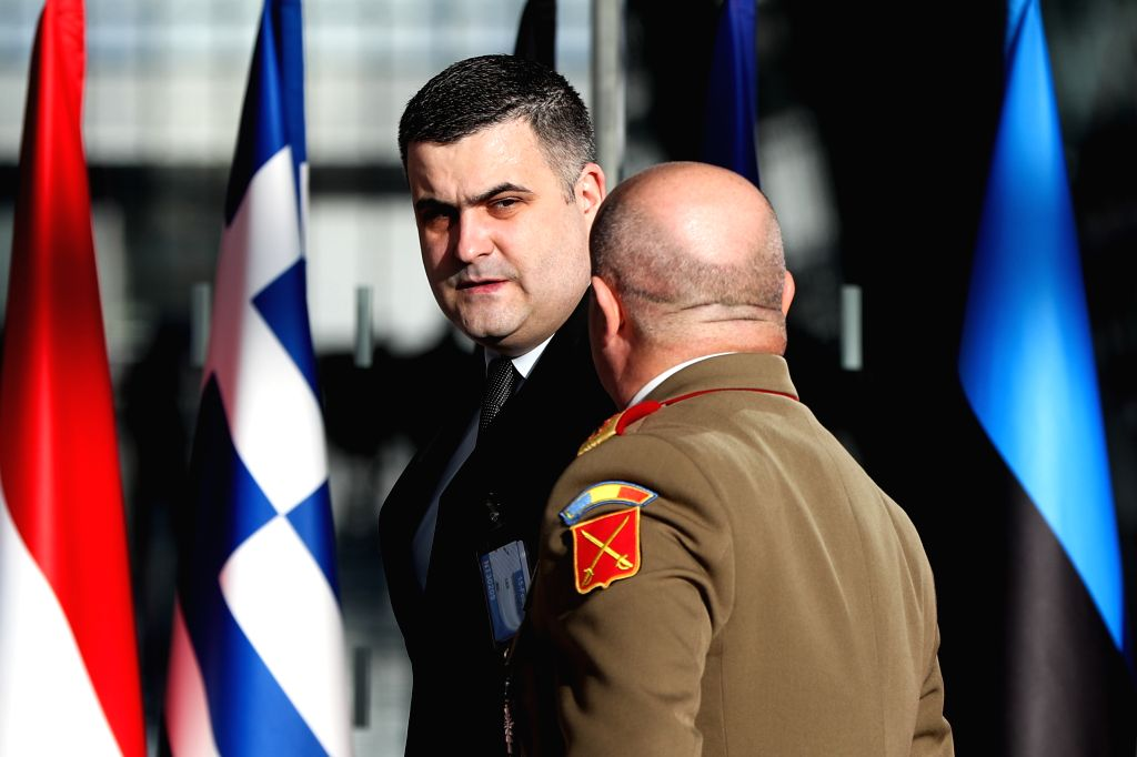 BRUSSELS, Feb. 13, 2019 - Romanian Minister of Defence Gabriel-Beniamin Les arrives for the NATO defence ministers meeting at the NATO headquarters in Brussels, Belgium, Feb. 13, 2019.