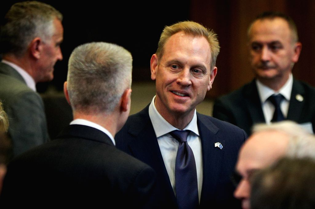 BRUSSELS, Feb. 13, 2019 (Xinhua)   Acting U.S. Secretary of Defense Patrick Shanahan attends the NATO defence ministers meeting at the NATO headquarters in Brussels, Belgium, Feb. 13, 2019. (Xinhua/Zheng Huansong/IANS)