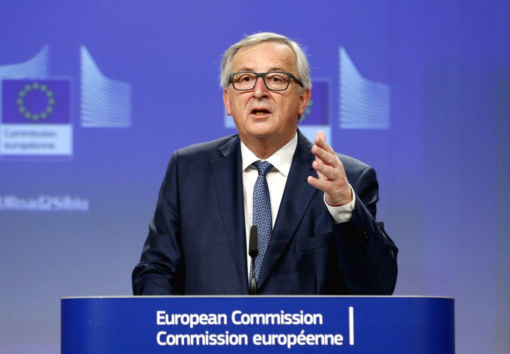 BRUSSELS, Feb. 14, 2018 - European Commission President Jean-Claude Juncker addresses a press conference at EU headquarters in Brussels, Belgium, Feb. 14, 2018.