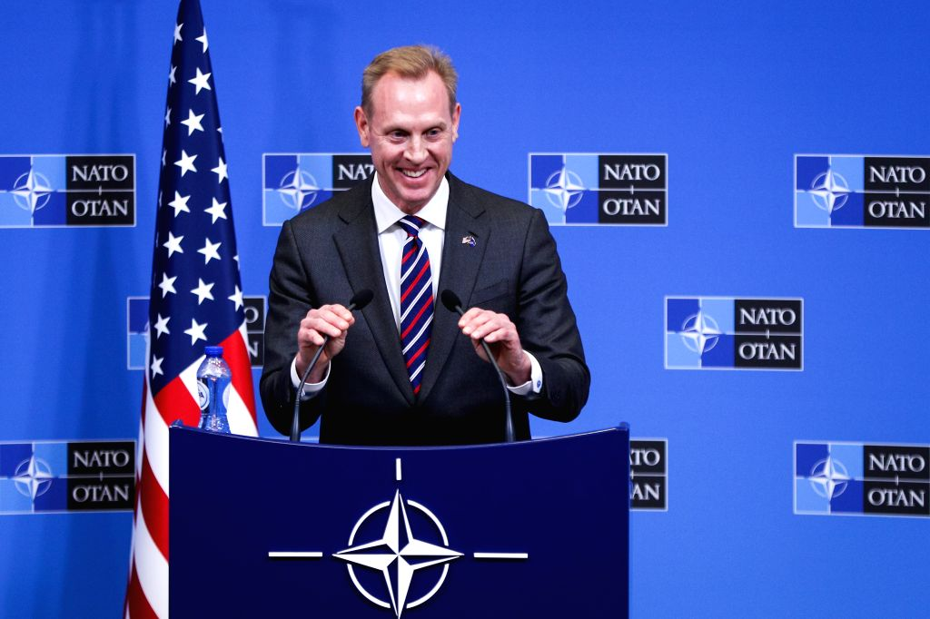 BRUSSELS, Feb. 14, 2019 - Acting U.S. Secretary of Defense Patrick Shanahan attends a press conference after the NATO defence ministers meeting at the NATO headquarters in Brussels, Belgium, Feb. 14, ...