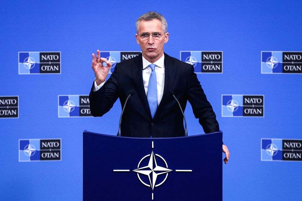 BRUSSELS, Feb. 14, 2019 - NATO Secretary General Jens Stoltenberg attends a press conference after the NATO defence ministers meeting at the NATO headquarters in Brussels, Belgium, Feb. 14, 2019.