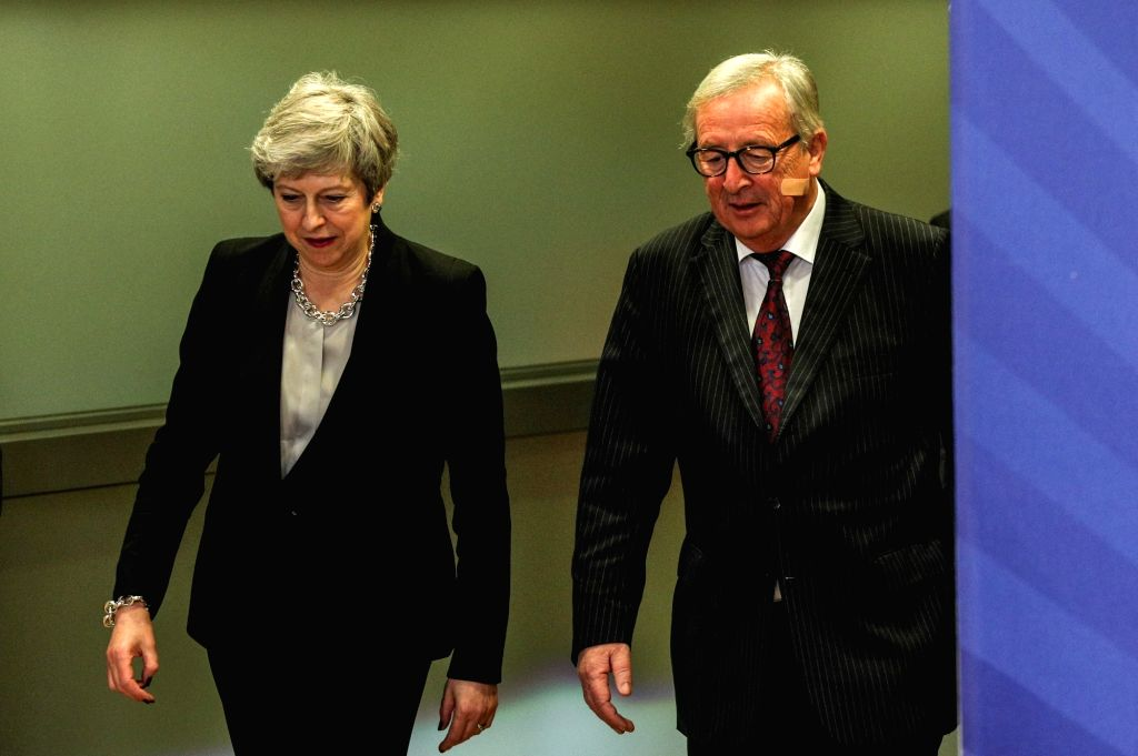 BRUSSELS, Feb. 20, 2019 - European Commission President Jean-Claude Juncker (R) meets with British Prime Minister Theresa May in Brussels, Belgium, on Feb. 20, 2019. European Commission President ... - Theresa May