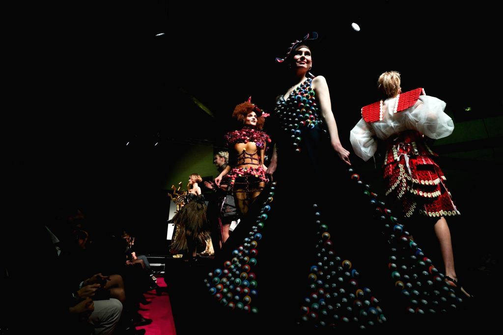 BRUSSELS, Feb. 22, 2019 - Models display chocolate dresses during the opening show of the 6th Brussels Chocolate Salon in Brussels, Belgium, Feb. 21, 2019. The 6th Brussels Chocolate Salon (Salon du ...